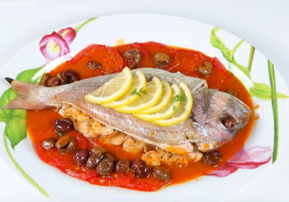 Poisson farci au four  recette poisson , recette plat : recettes de cuisine