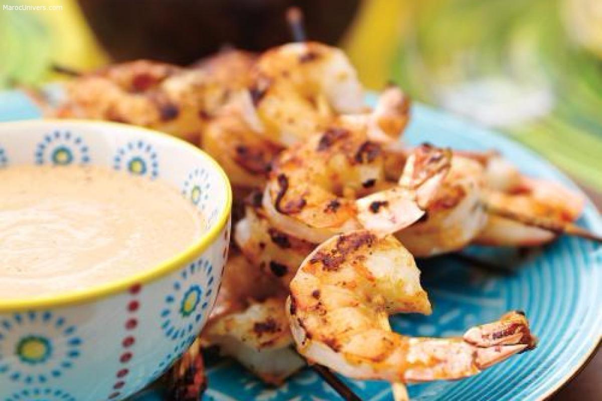 Crevettes grillées et sauce aux noix de cajou