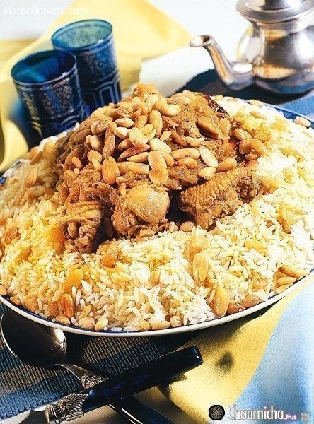 Poulet M'qalli et riz au safran