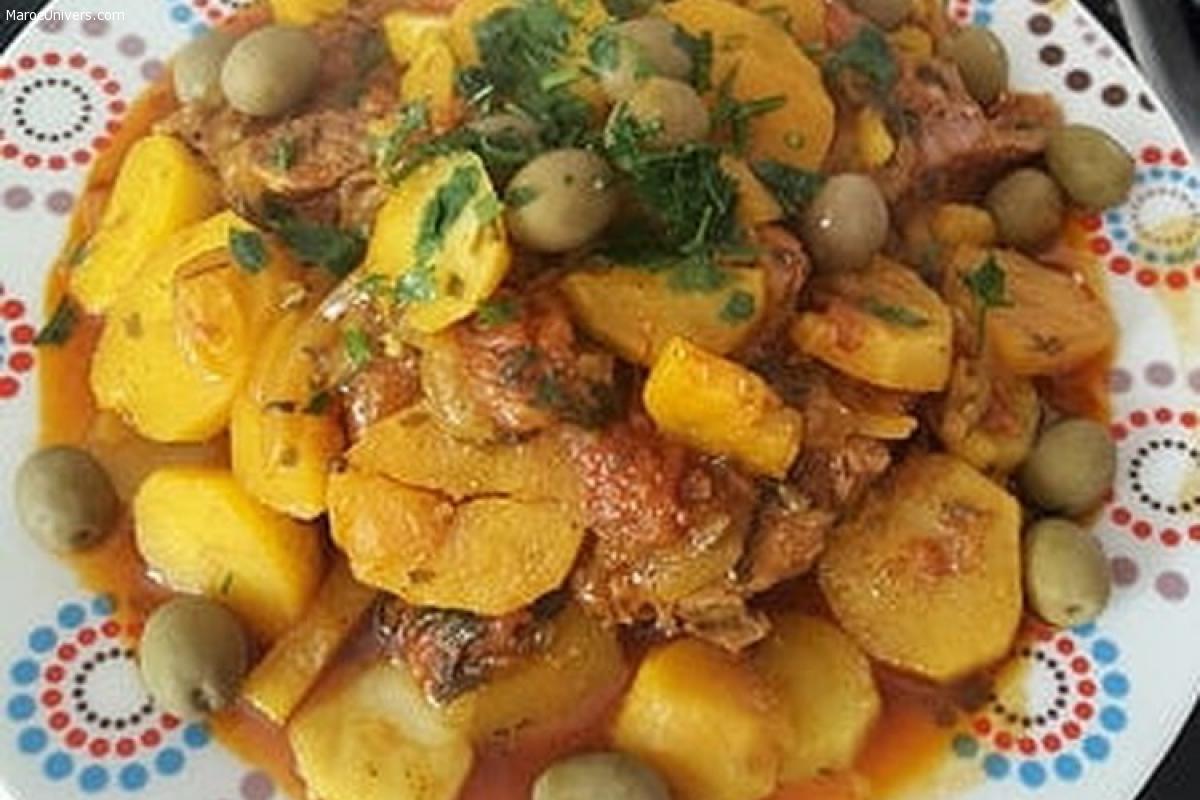 Recette Tajine de veau aux pommes de terre et olives