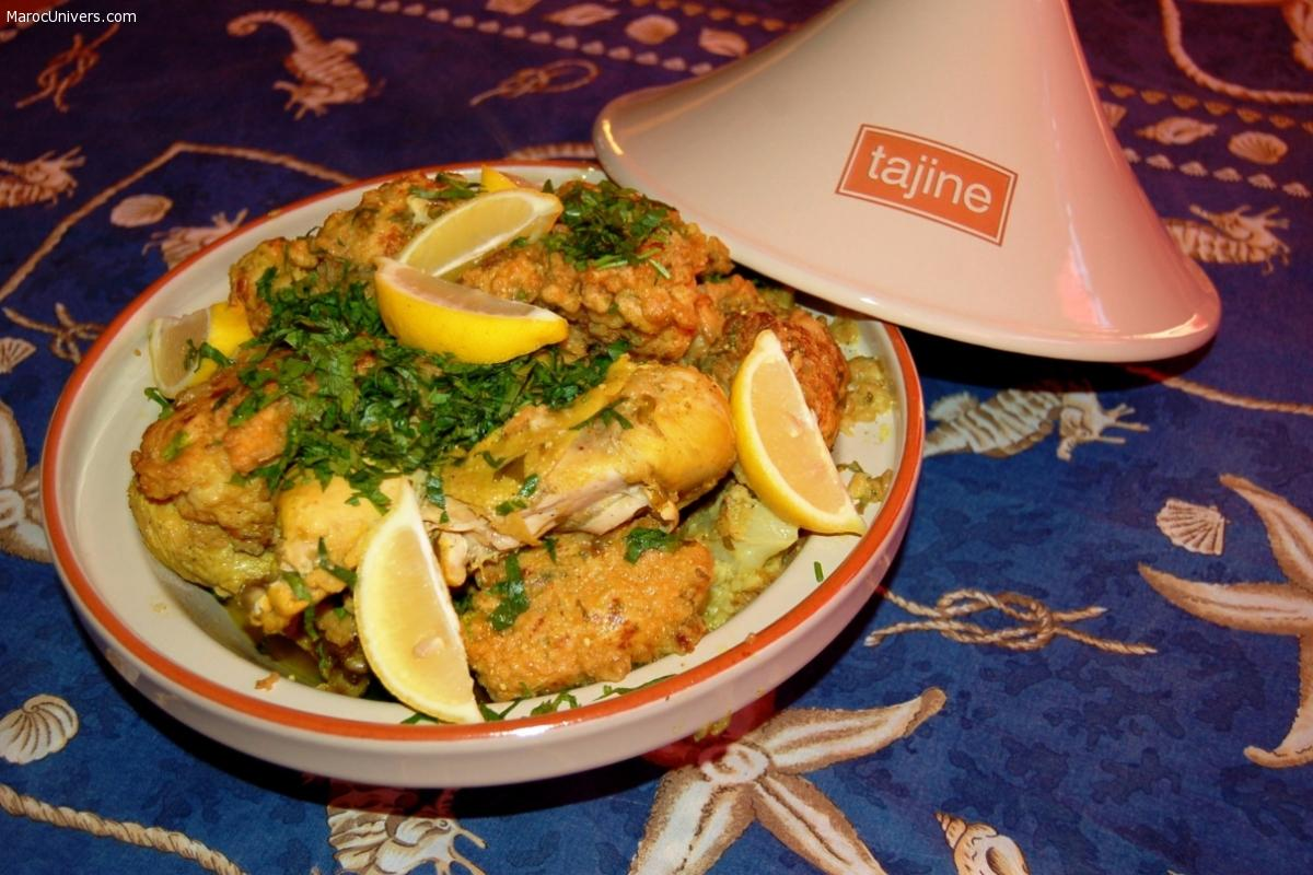 Tajine Chou-fleur en beignets et poulet à l'algérienne