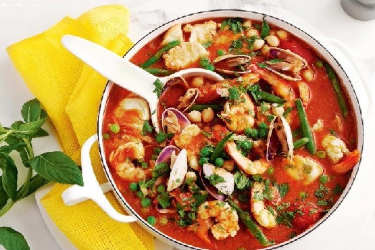 Tajine de fruits de mer aux légumes verts