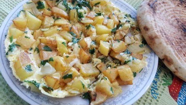 Frite omelette recette algérienne أمليت البطاطا المقلية على الطريقة الجزائرية