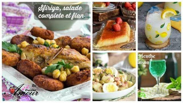 menu: plat anti gaspillage Sfiriya algéroise avec une salade complete et un flan