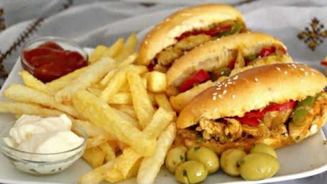 سندويتشات بحشوة رائعة مع بطاطس مقلية بطريقة المطاعم