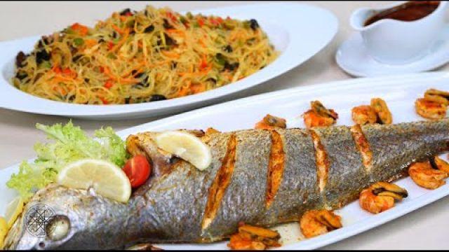 شميشة : وصفة سهلة وناجحة لتحضير سمك متبل في الفرن وسلطة شعرية الأرز بفواكه البحر