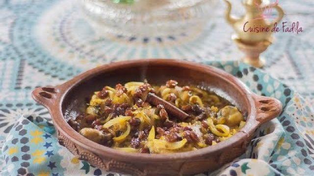 Tajine de poulet aux oignons et raisins secs