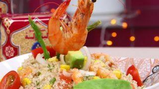 Salade de Couscous aux crevettes (Taboulé) - Couscous salad with shrimps and vegetables