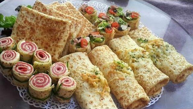 Crêpes salées farçies 4 saveurs كريب مالح بأربع حشوات سهلة