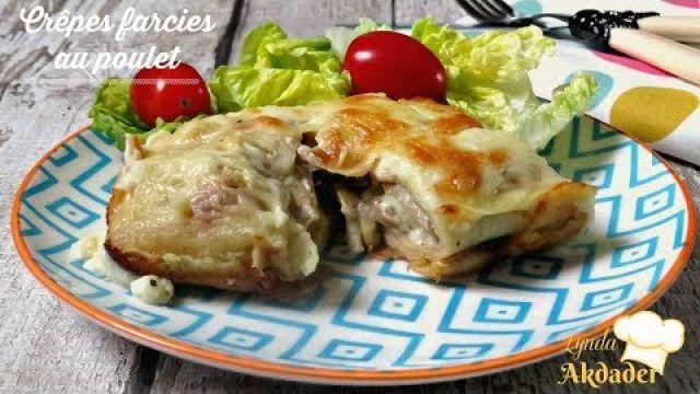 recette de crêpes farcies au poulet et champignons par Lynda Akdader